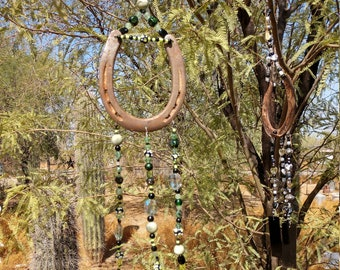 Handmade Horseshoe Wind Cime - Black & Green