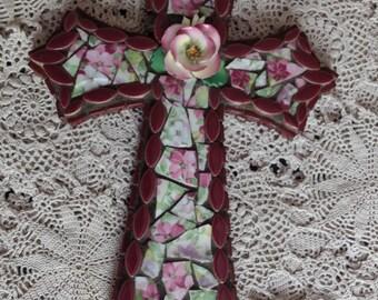 Mosaic Cross with Vintage Ceramic Rose