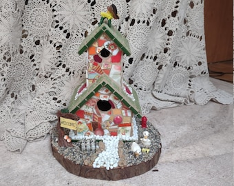 Unique Handmade Bird House Fairy House - The Cottage