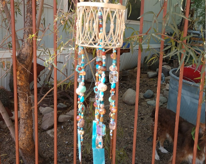 Pretty Turquoise and Ivory Stained Glass Windchime