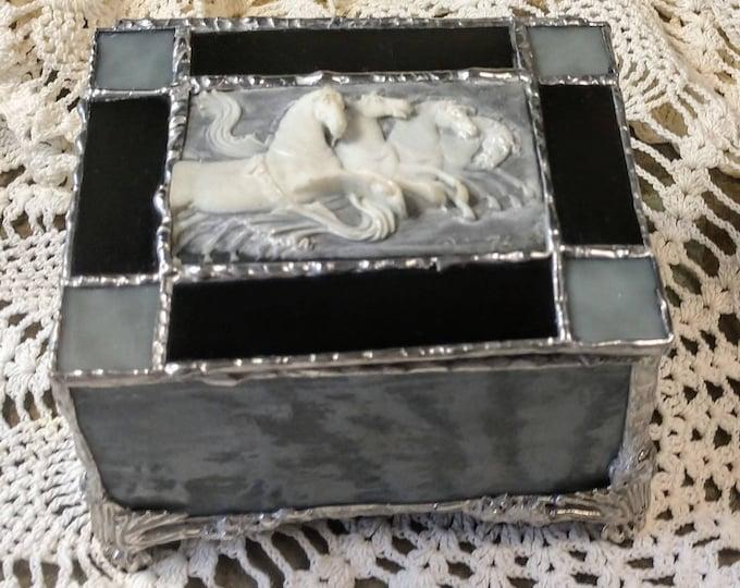 Beautiful Handmade Stained Glass Box - Wild Horses