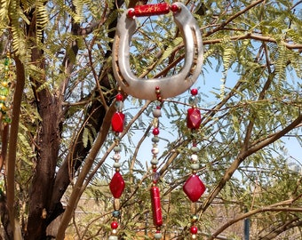 Hasndmade Horseshoe Wind Chime - Red & Silver