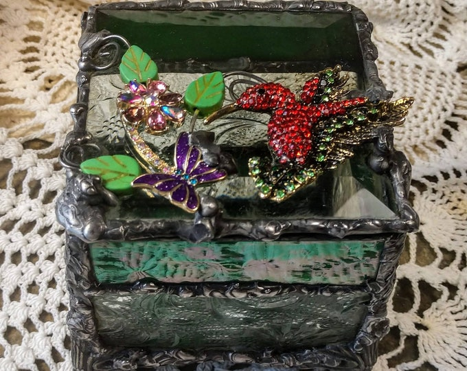 Handmade Stained Glass Box - Hummingbird Garden