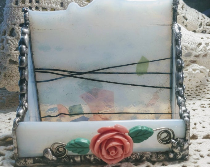 Beautiful Handmade Stained Glass Business Card Holder - Pink Rose