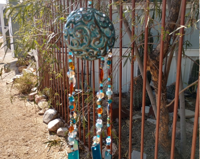 Pretty Floral Wind Chime - Turquoise and Red