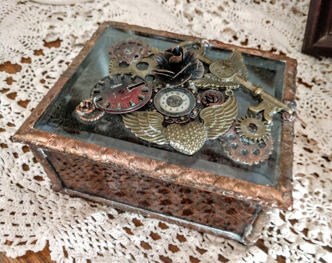 Beautiful Handmade Steam Punk Themed Stained Glass Box