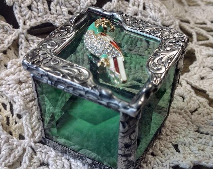 Handmade Stained Glass Petite Box - Petite Parrot