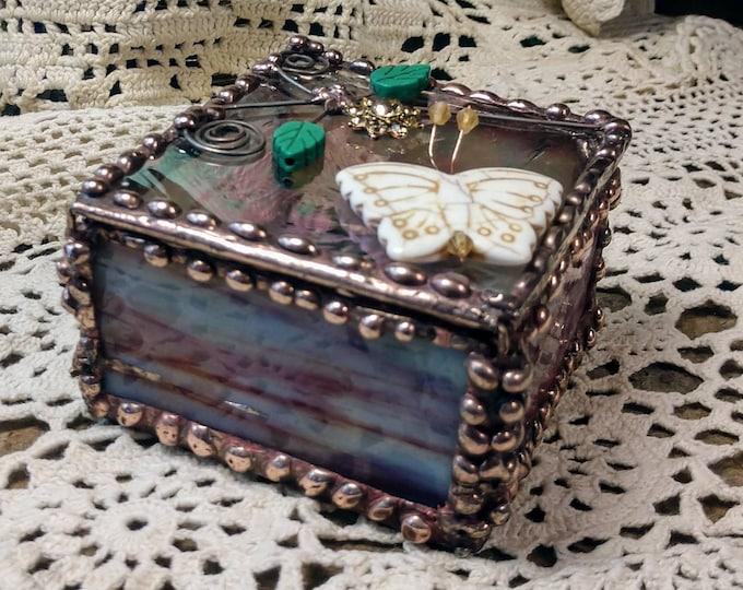 Beautiful Handmade Stained Glass Box - Butterfly Garden