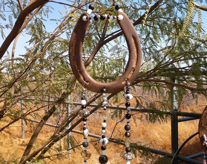 Handmade Horse Show Wind Chime - Black and White Hearts
