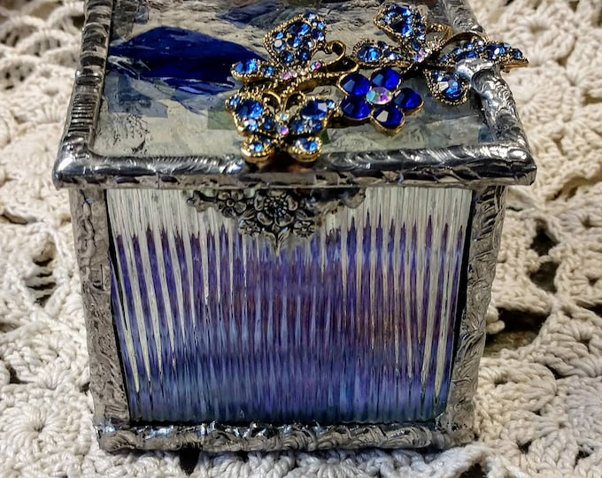 Beautiful Handmade Stained Glass Box - Butterfly Ballet