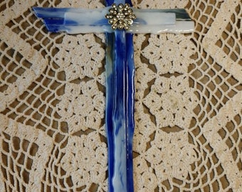 Beautiful Blue Stained Glass Cross
