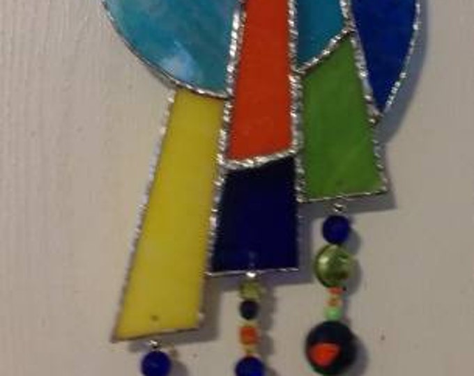 Stained Glass Feather Mandela Wind Chime