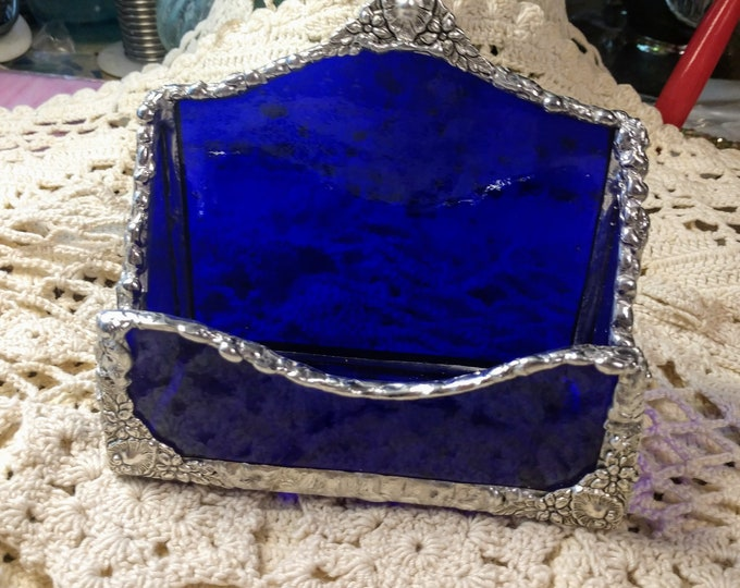 Beautiful handmade stained glass business card holder!