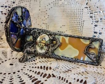 Handmade Double Wheel Stained Glass Kaleidoscope - Bird Song