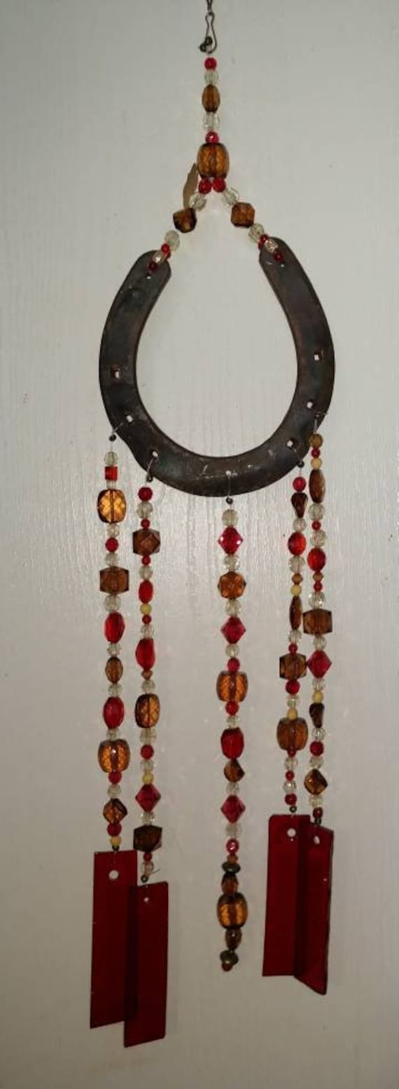 One of a kind Horseshoe Stained Glass Wind Chime