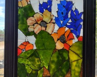 Cactus Garden Glass-on-Glass Panel