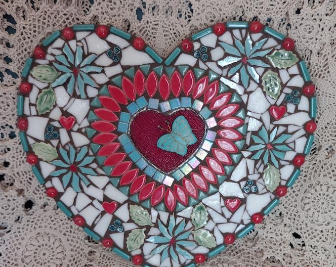 Pretty Handmade Mosaic Heart - Hearts & Flowers