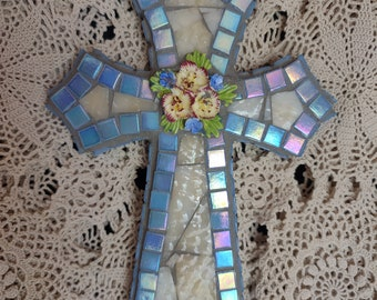Beautiful Baby Blue and Ivory Mosaic Cross - Blessed