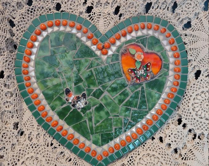 Hearts & Butterflies - Handmade Mosaic Heart