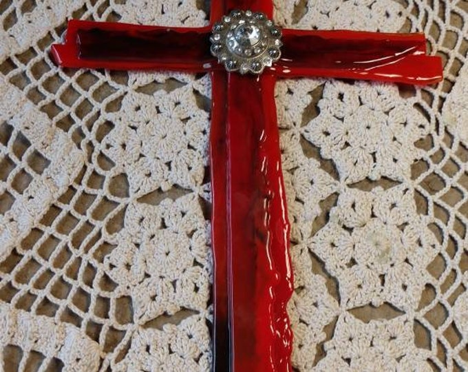 Beautiful Red Stained Glass Cross