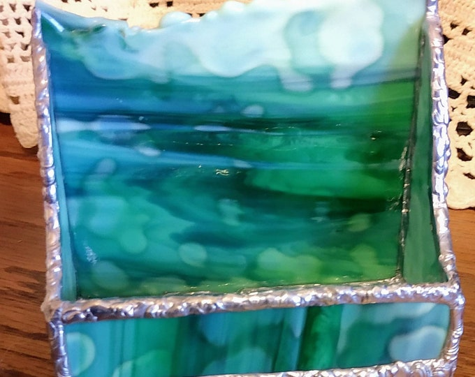 Beautiful handmade stained glass business card holder - Waves