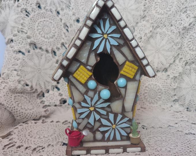 Handmade Mosaic Birdhouse - Home Sweet Home