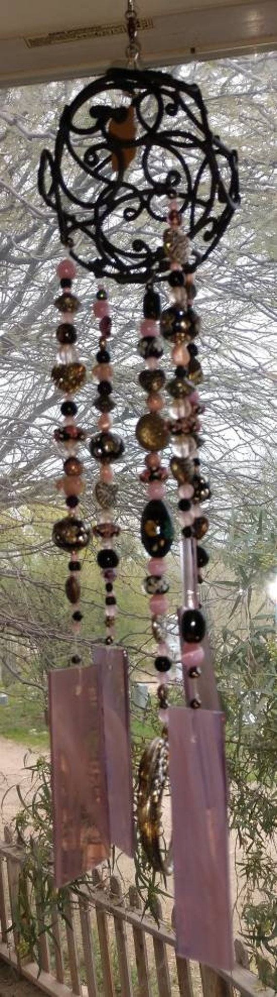 Stained Glass Angel Wing Windchime
