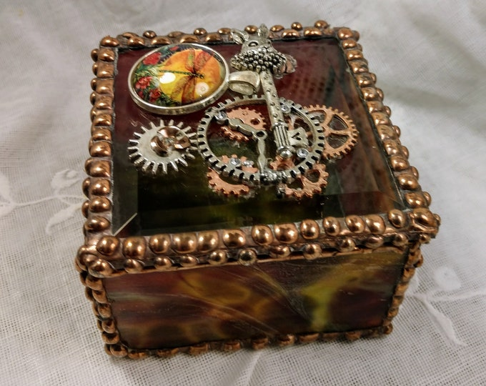 Unique Handmade Stained Glass Box - Clockwork Fairy Tales
