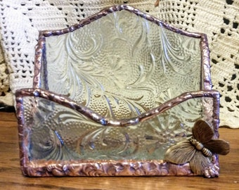 Beautiful handmade stained glass business card holder - Butterfly