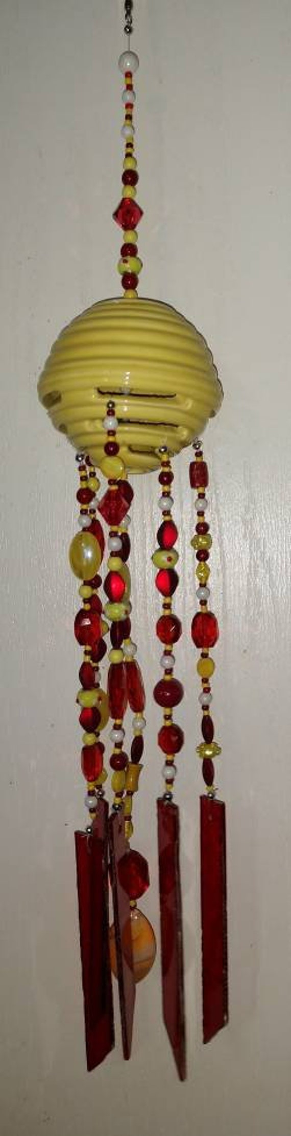Beautiful Red and Yellow Stained Glass Wind Chime