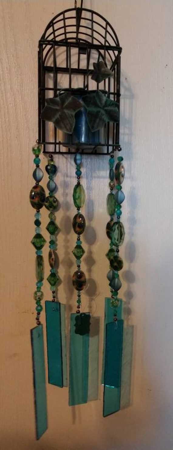 Bird Cage Stained Glass Wind Chime with LED Candle