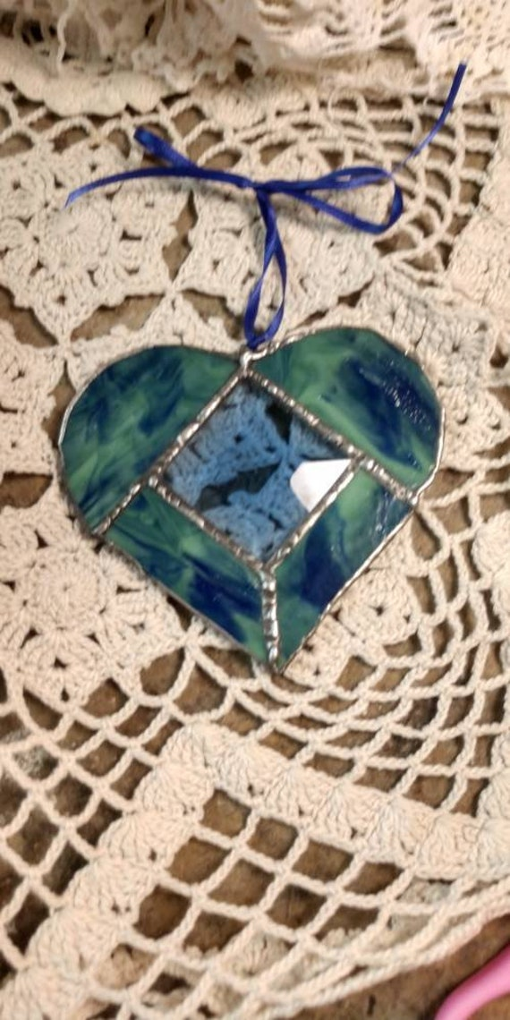 Stained Glass Heart Green and Blue