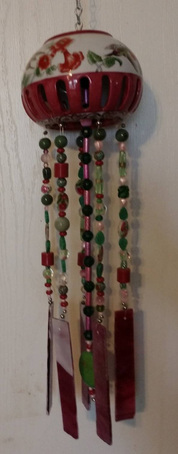 Hummingbird Garden Stained Glass Wind Chime