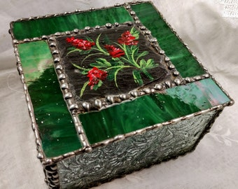 Beautiful Handmade Stained Glass Box - Prairie Fire in Bloom