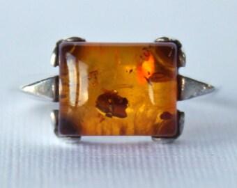 Rustic Amber Sterling Silver Ring Vintage 70s 1970s Rare Unique Earth Orange Red Gemstone Precious Hippie Gift Present Girlfriend Love
