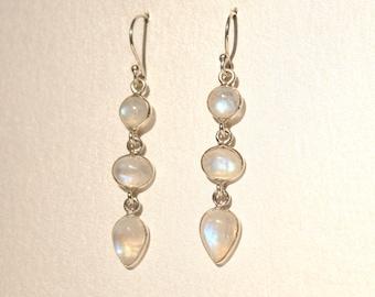 Moonstone Tear Drop Earrings Gemstone Precious White Sterling Silver Long Statement Unique Rare 80s 1980s Semi Light Gift Present