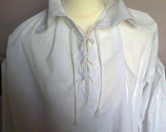 Lace up shirt,Renaissance shirt,Tudor/Medieval white shirt,SCA,LARP, pirate shirt,soldier's shirt, re enactments,cosplay,Civil war