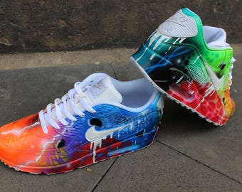 b179c6780b Custom Airbrush Nike Air Max 90 White Drip Galaxy Style