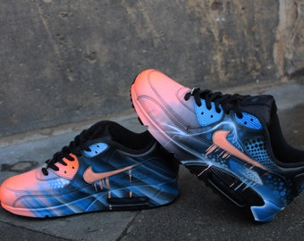 840df6f078 Nike Air Max 90 Blue Abstract Style Painted Custom Shoes Sneaker Airbrush  Kicks rare schuhe *UNIKAT*