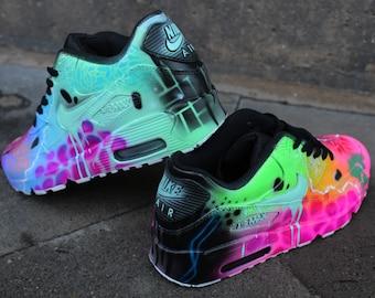 1a9bee3fae3a Custom Nike Air Max 90 Funky Galaxy Colours Graffiti Airbrush Sneaker Art