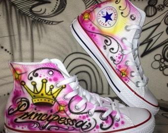 d900c094c91a56 Customized airbrush converse allstar chucks principessa princess girly  style    SALE Price for a short time