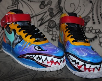 9794a8ff56ad Custom painted Nike AIR FORCE 1 one Special sharkmouth Style    SALE Price  for a short time