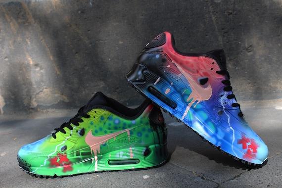 Aerografo personalizzato dipinto Nike Air Max 90 colori Funky pazzi * UNIKAT * arte