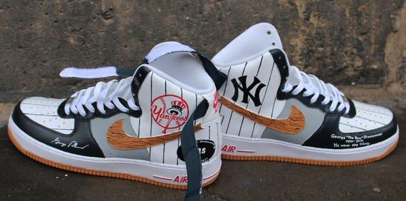 Nike Air Force 1 High NY Yankees peint sur mesure | Etsy