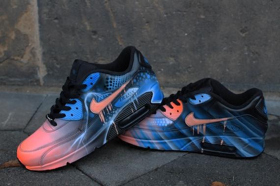 Nike Air Max 90 Blue Abstract Style Painted Custom Shoes Sneaker Airbrush Kicks rare shoes *UNIKAT*