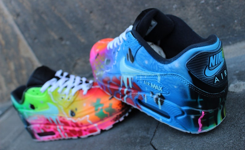 pick up b6408 5c8de Nike Air Max 90 Blue Galaxy Style Painted Custom Shoes Sneaker   Etsy