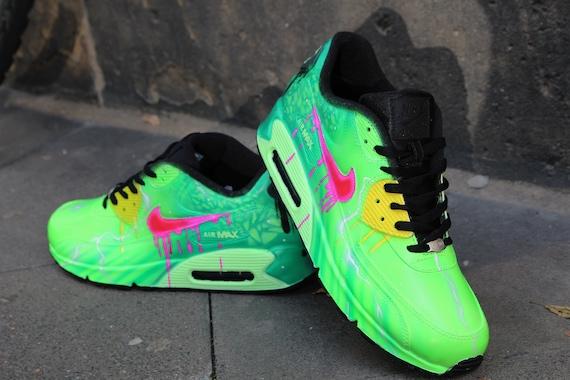 Aangepaste Airbrush geschilderd Nike Air Max 90 Poison Green stijl * UNIKAT * handbeschilderd Sneaker