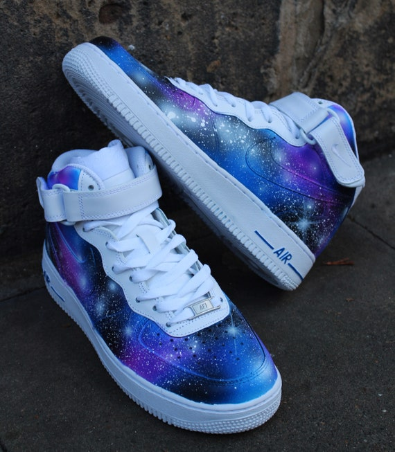 Nike Air Force 1 Mid GALAXY Style Airbrush painted shoes | Etsy