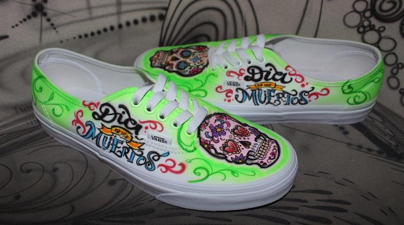 95e6d4ad26 Custom painted Airbrush Vans Authentic Sneaker Dia de