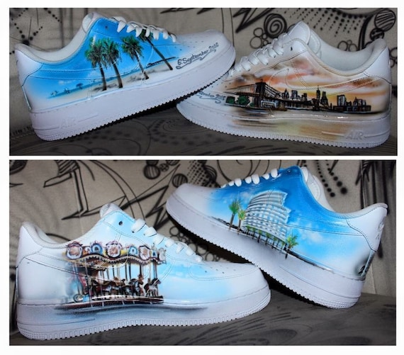 Nike Air Force 1 Airbrush Custom Graffiti Painted Shoes Art Style Hiphop Fashion